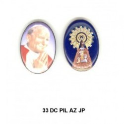 Virgen del Pilar con Papa Juan Pablo II Oval 33 m.m. MADONA