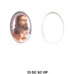 Sagrado Corazón de Jesus con esmalte detras Oval 33 m.m.