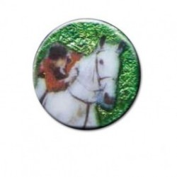 Jinete saltando a caballo blanco redondo 14m.m. diametro