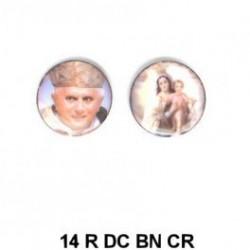 Papa Benedicto XVI y Virgen del Carmen  redondo 14m.m. diametro