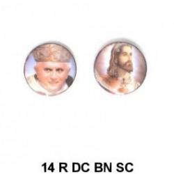 Papa Benedicto XVI y Jesus  redondo 14m.m. diametro