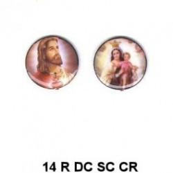 Jesus y Virgen del Carmen redondo 14m.m. diametro