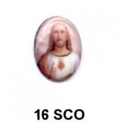 Jesuscristo esmaltado Oval 16 m.m.