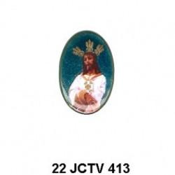 Jesus esmaltado Oval 22 m.m.