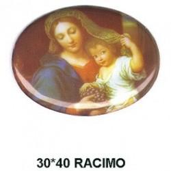 Virgen y niño Racimo esmalte  30x40 m.m. ovalada