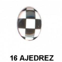 Estampado Ajedrez esmalte Oval 16 m.m.