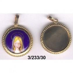 Medalla plata con esmalte Virgen niña y baño dorado