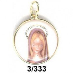 Medalla plata y esmalte  Virgen niña blanca