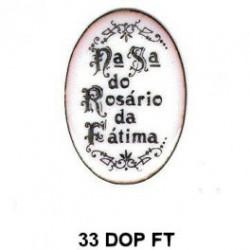 Trasera inscripción Virgen Rosario de Fatima Oval 33 m.m.