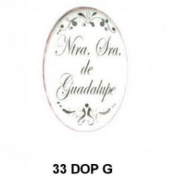 Trasera inscripción Virgen de Guadalupe Oval 33 m.m.