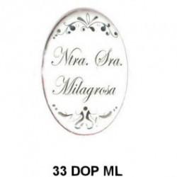 Trasera inscripción Virgen de Nuestra Señora Milagrosa Oval 33 m.m.