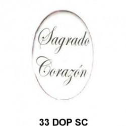 Trasera inscripción Segrado Corazon de Jesus Oval 33 m.m.